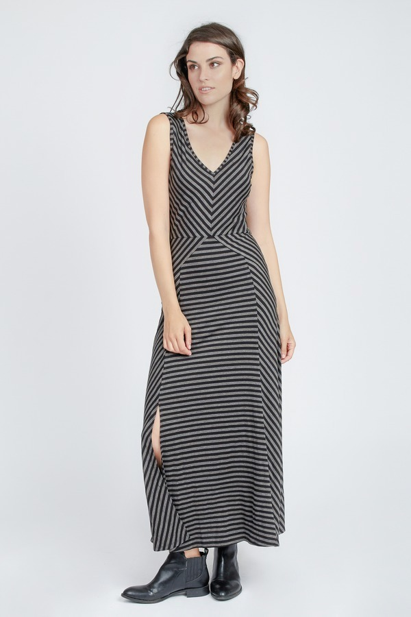 Stripe Mix Maxi Dress