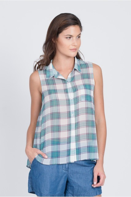 Sheer Cut Out Plaid Top