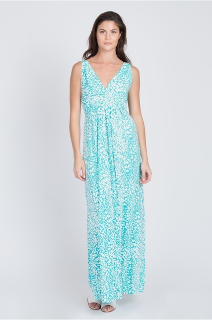 Teal Printed Maxi Dress