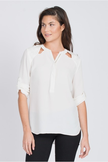 Cut Out Zip Front Top