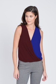 Color Blocked Drape Top by BCBGMAXAZRIA