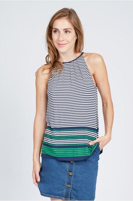 Striped Pleat Top
