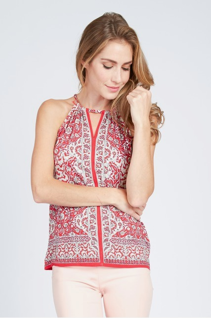 Printed Keyhole Neck Top