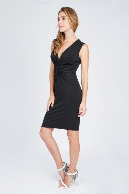 Ruched Vee Neck Dress