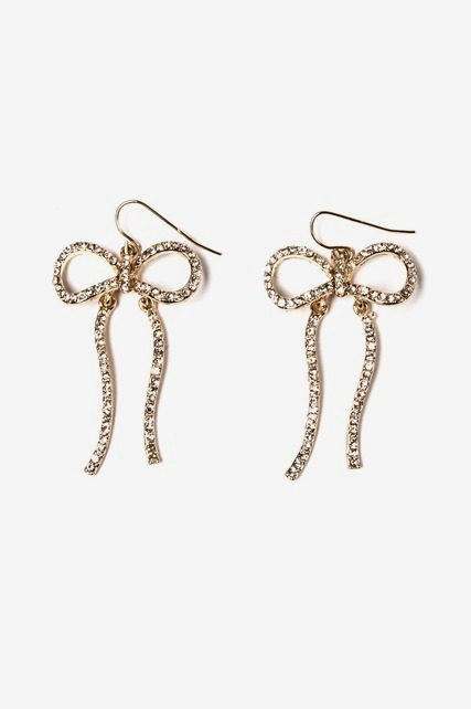Pave Bow Drop Earrings