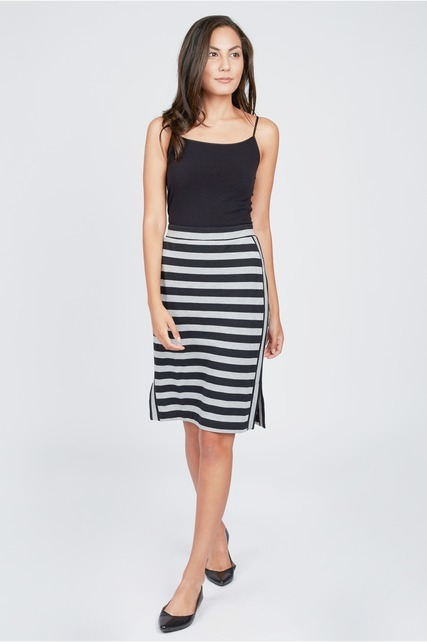 Mixed Stripe Pencil Skirt