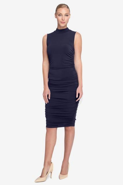 Shirred Mock Neck Dress