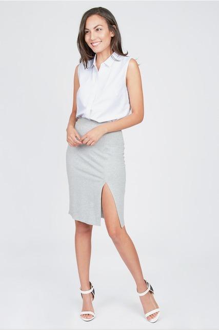 Front Split Knee Skirt