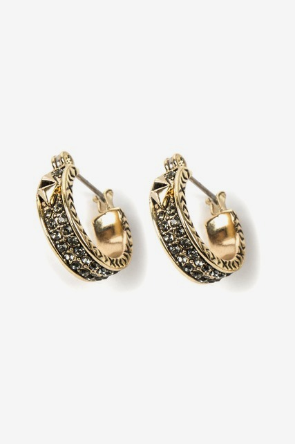 Pave Stud Mini Hoops