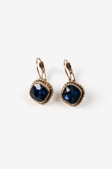 Navy Lever Drop Earring