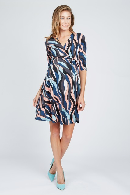 Wavy Mini Wrap Dress