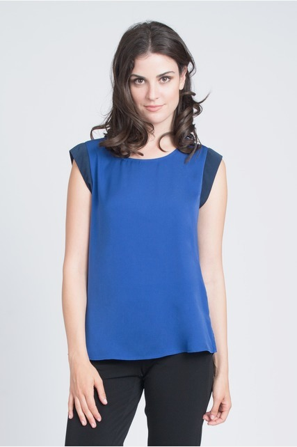 Colorblock Cap Sleeve Top