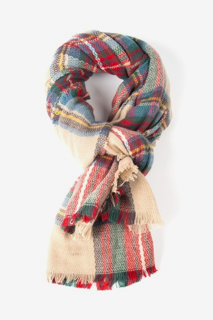 Multi Camel Plaid Scarf