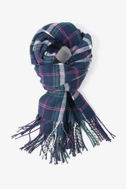 Navy & Pink Plaid Scarf