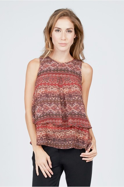 Tiered Pleated Tank