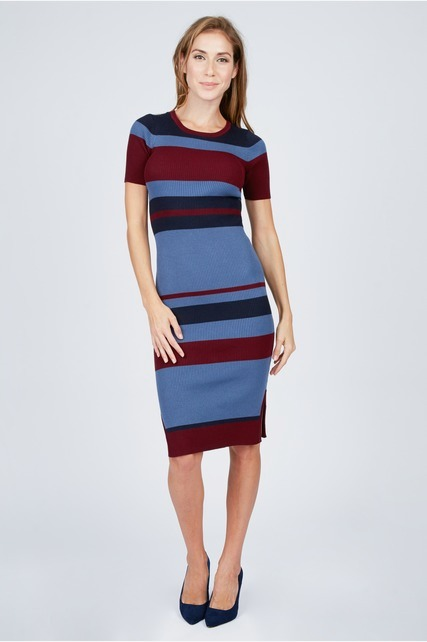 Striped Midi Knit Dress