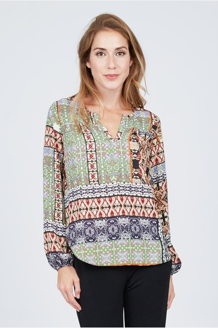 Split Neck Print Top