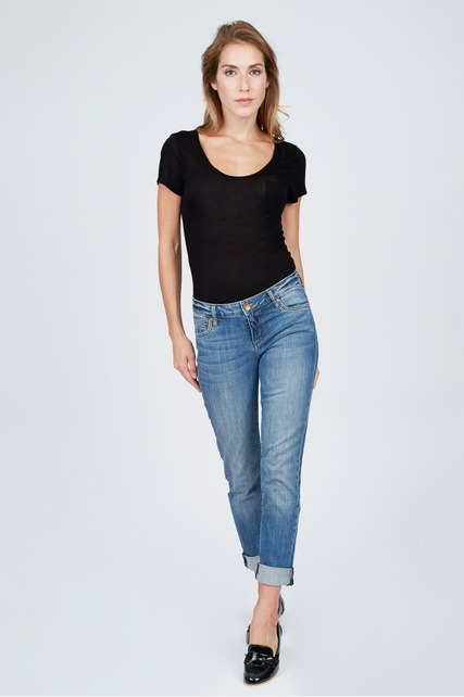 Midrise Boyfriend Cuffed Jeans