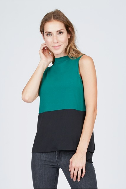 Color Block Mock Neck Top