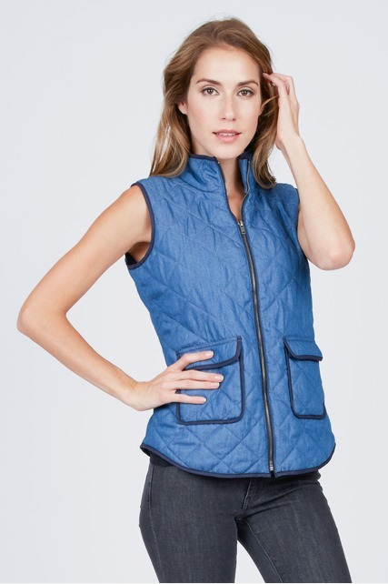 Quilted Vest With Binding