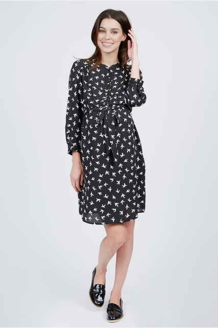 Bird Printed Shirtdress