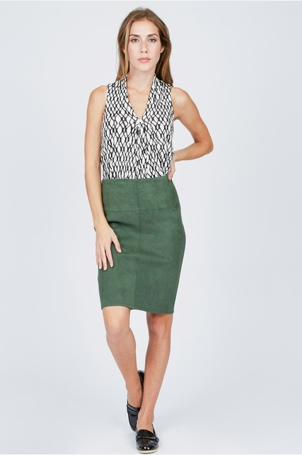 Sueded Scuba Skirt