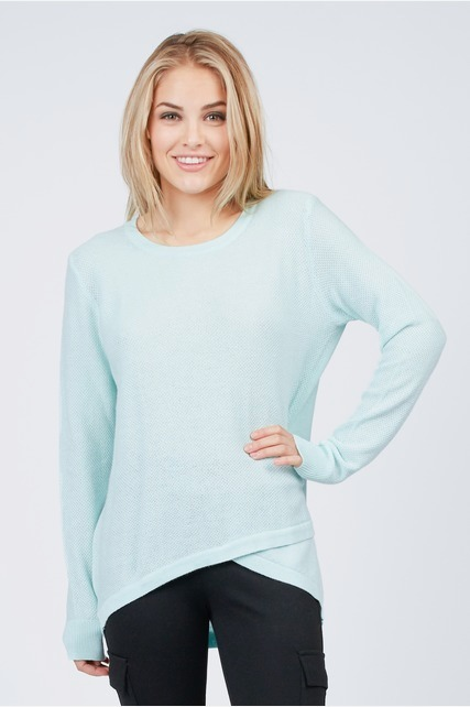 Mint Wrap Hem Sweater