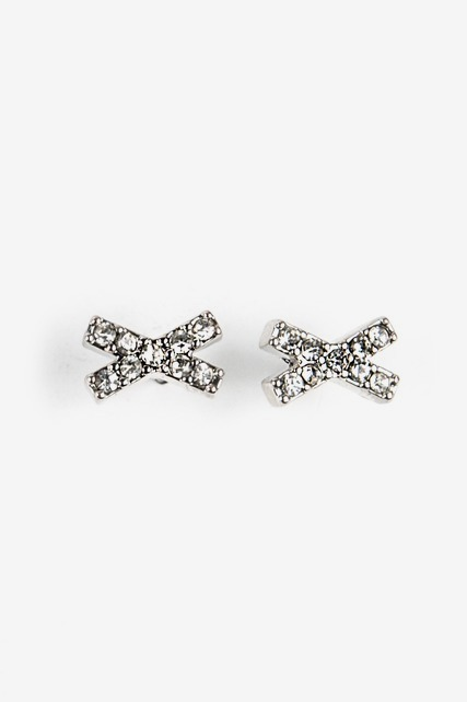 Pave Studded X Earrings