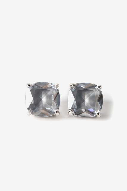 Grey Crystal Square Studs