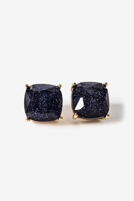 Navy Sparkle Square Studs