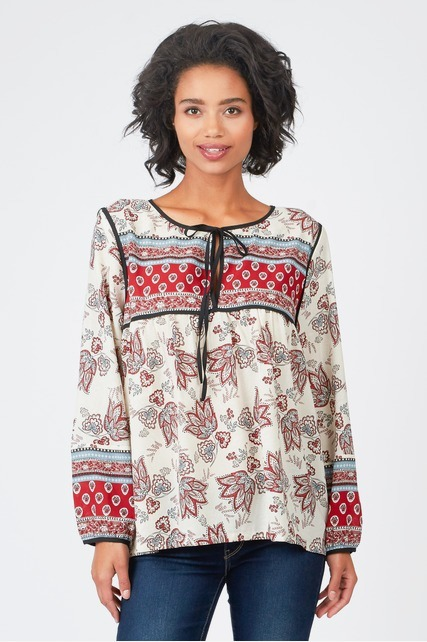 Mixed Border Print Blouse