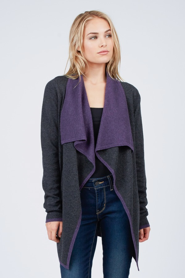 Color Block Drape Cardigan