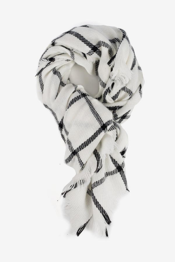 Ivory Windowpane Scarf