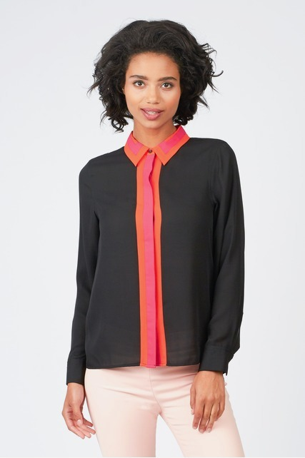Button Up Color Block Top