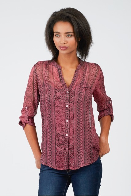 Printed Split Neck Blouse