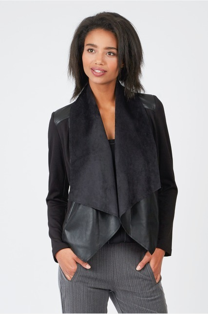 PU Panel Drape Jacket