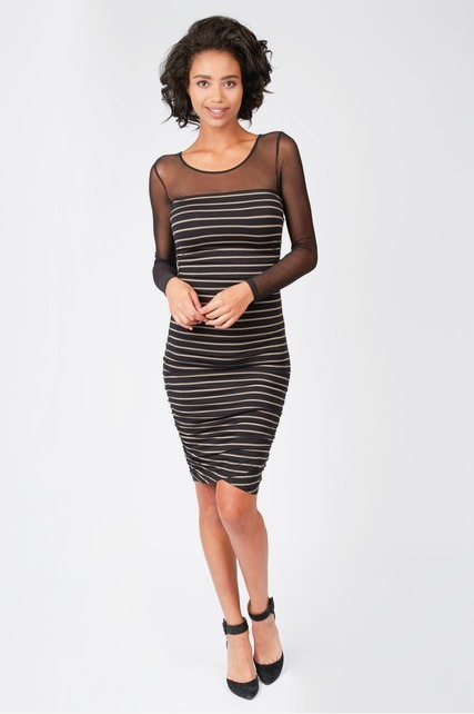 Mesh Yoke Shirred Dress