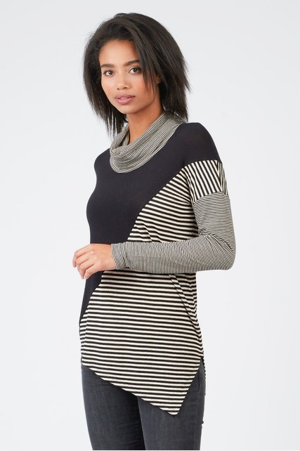Mixed Striped Cowlneck