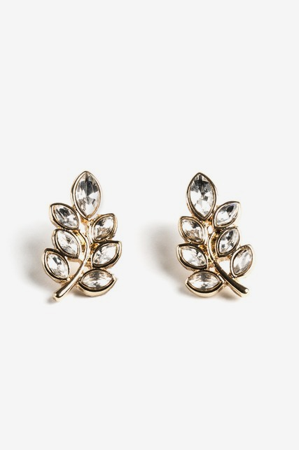 Crystal Leaf Stud