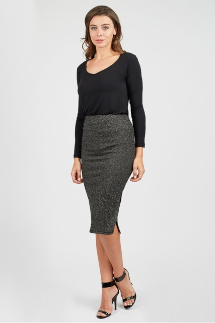 Lurex Stretch Pencil Skirt