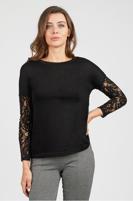 Sheer Lace Sleeve Top