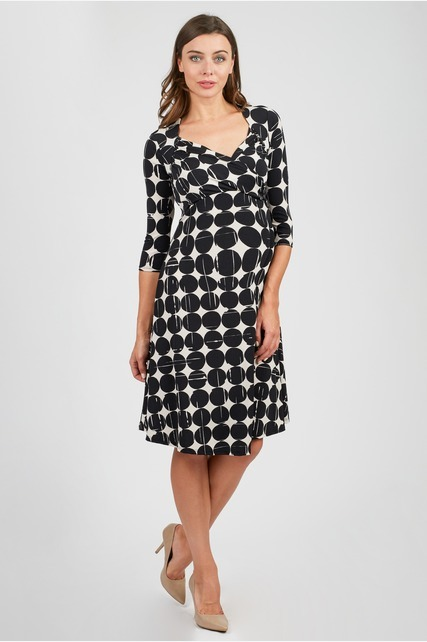 Disc Printed Wrap Dress