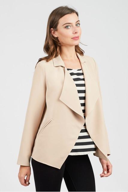 Drape Front Twill Jacket