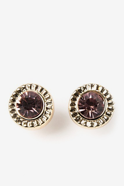 Purple Stone Stud Earrings
