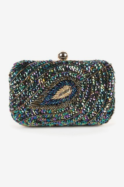 Sequin Feather Clutch