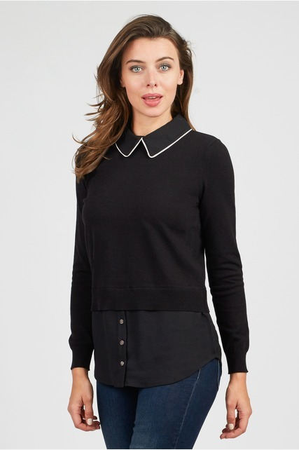 Mix Media Collared Top