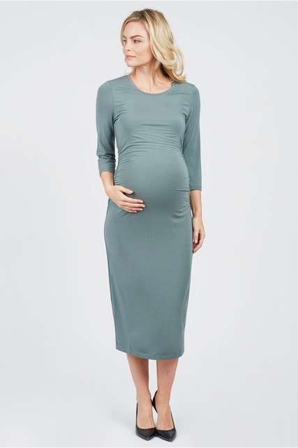 Olive Ruched Dress