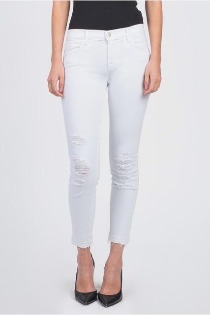 Distressed White Jean