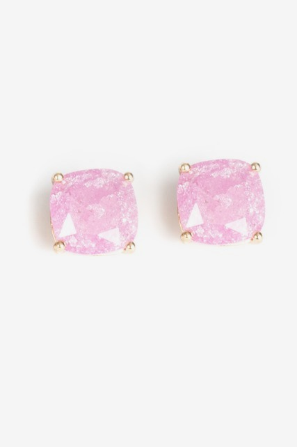 Pink Square Studs
