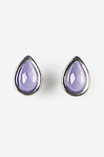 Lavender Teardrop Studs